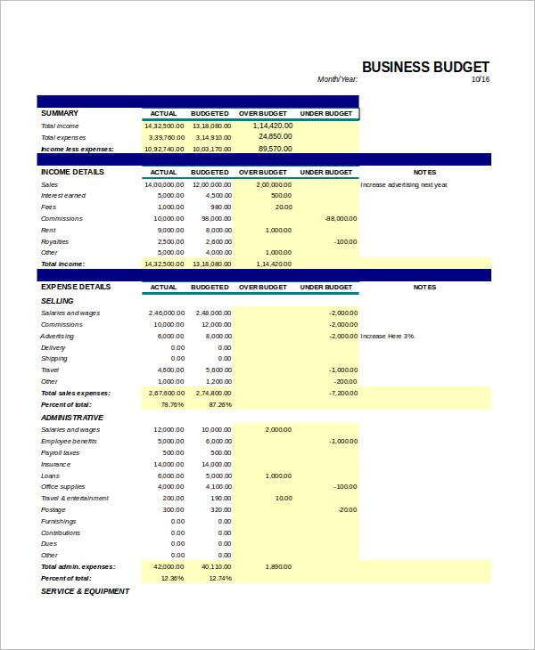 Business Budget Excel Format