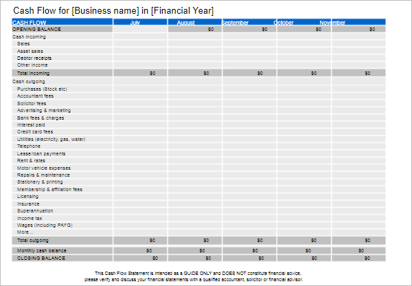 Business Cash Flow Statement Template