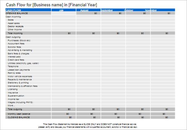 33 cash flow statement templates free excel pdf examples