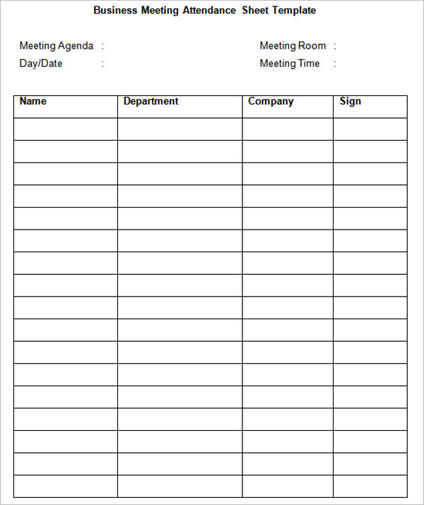 Business Conference Sign In Sheet Download