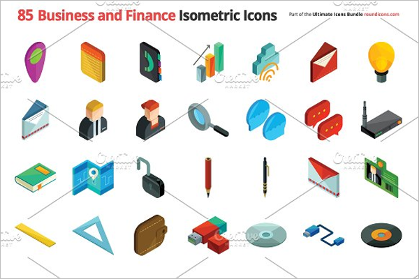 Business Isometric Icons Design