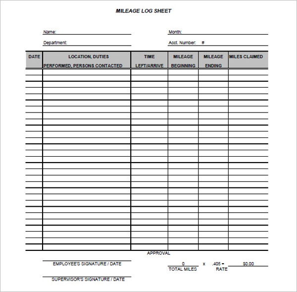 Business Mileage Log Template