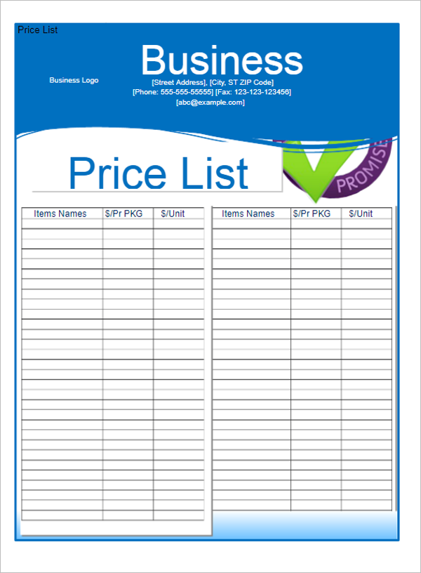 Business Price List Invoice Template