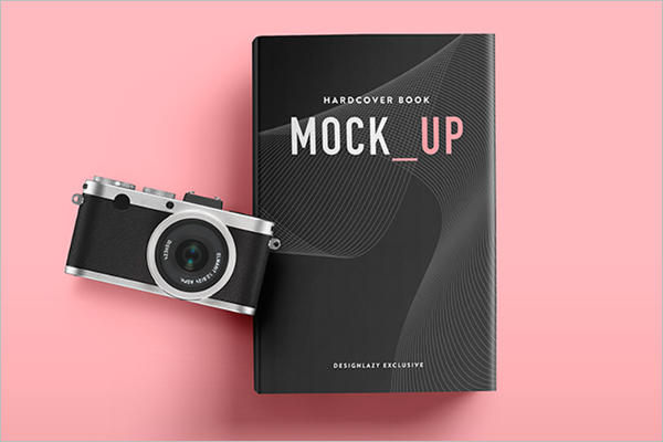 Camera Mockup With Book
