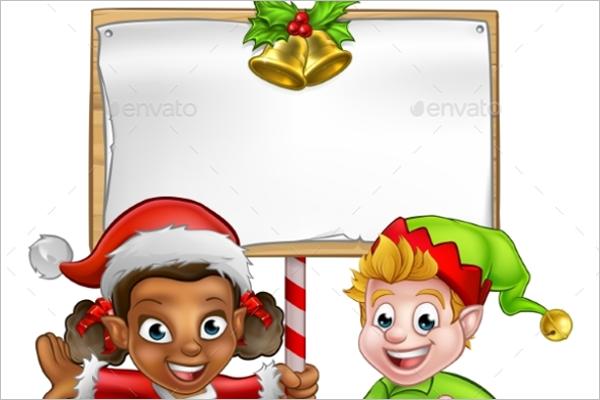 Cartoon Christmas Girl Template