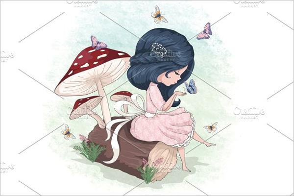 Cartoon Girl Vector Character