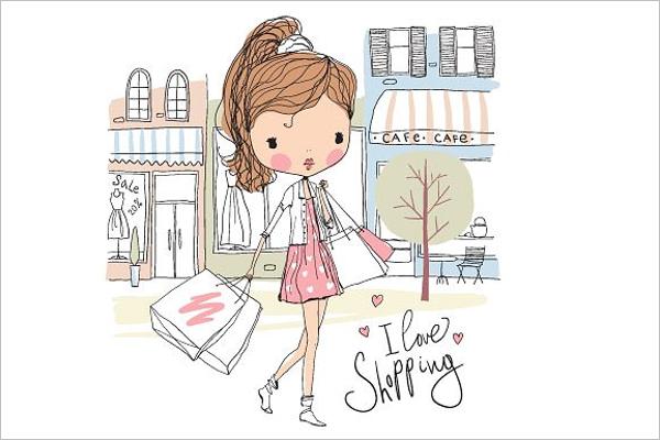 Cartoon Girl with shopping