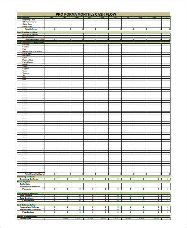 Cash Flow Statement Template Download
