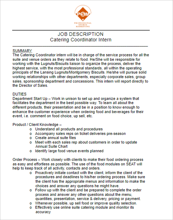 catering job description for resumes