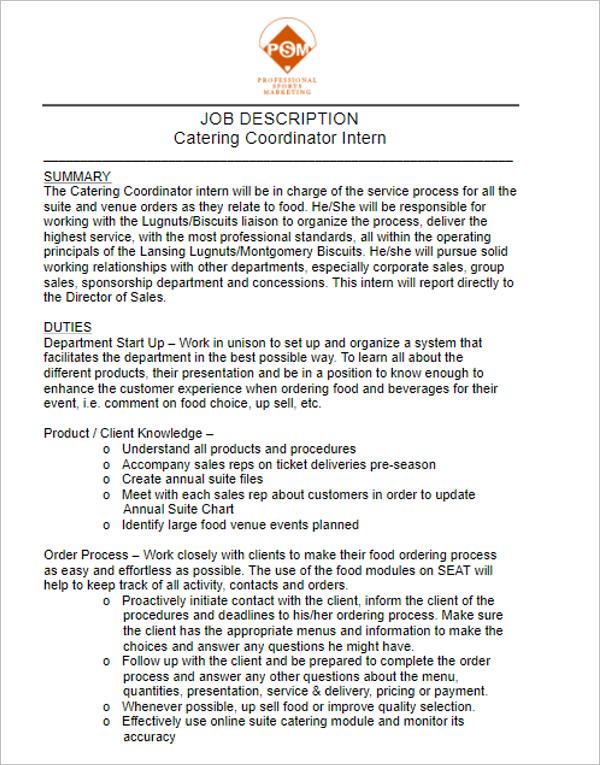 Catering Resume Sample