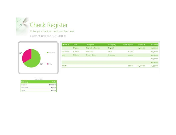 Check Register Excel Chart Template