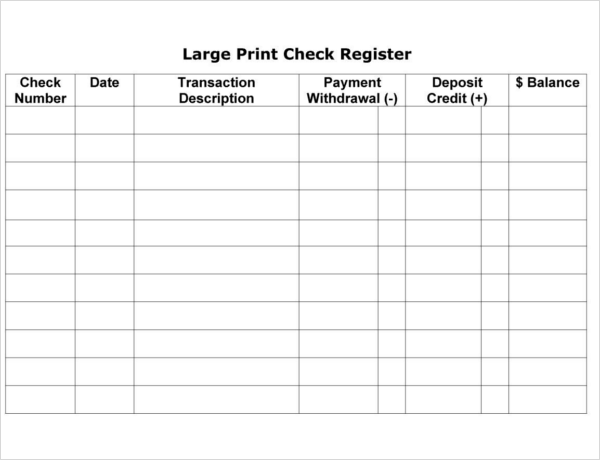 30 checkbook register templates free pdf excel format