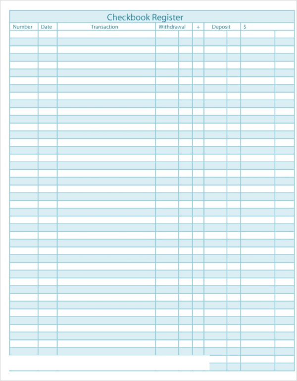 checkbook register templates