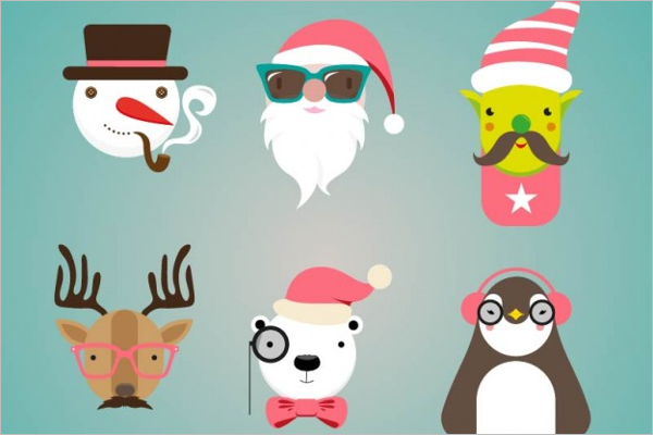 Christmas Hipster Character Design