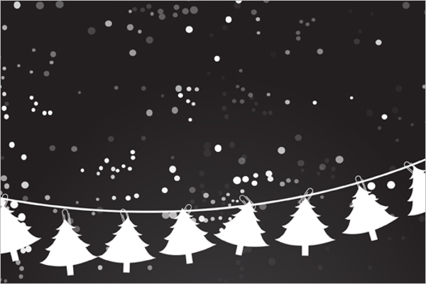 Christmas Trees on Winter Background
