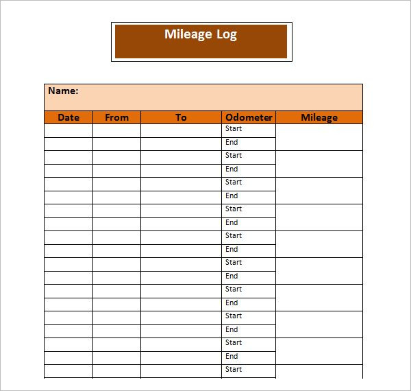 Clear Mileage Log Template