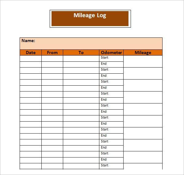 Clear Mileage Log Template