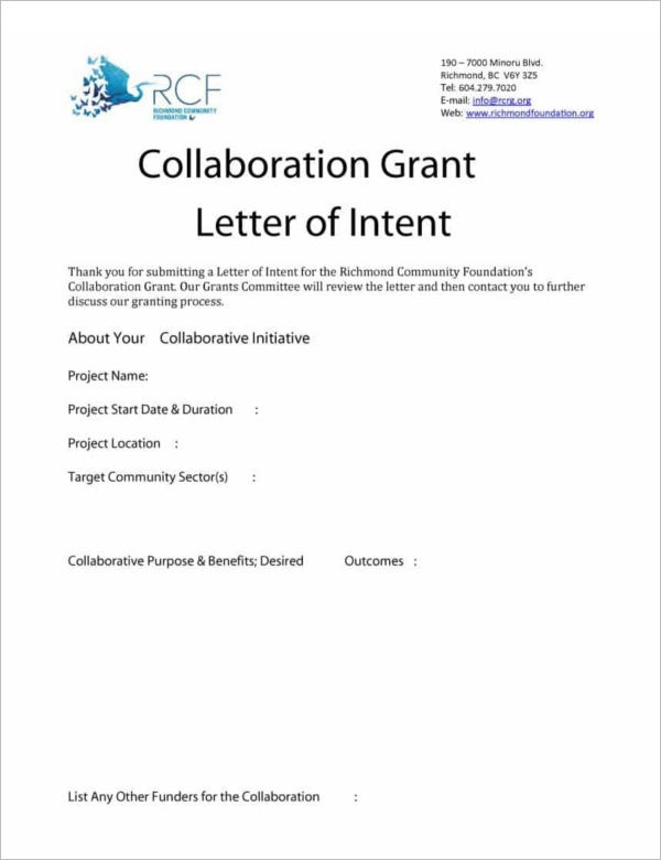 Collaboration Grant Letter of Intent