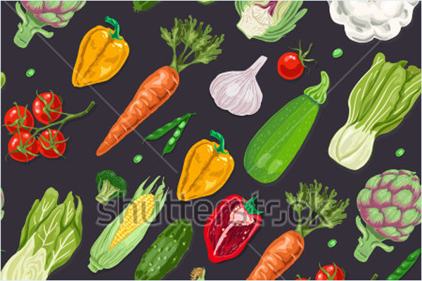 Colored Vegetables Fabric Design