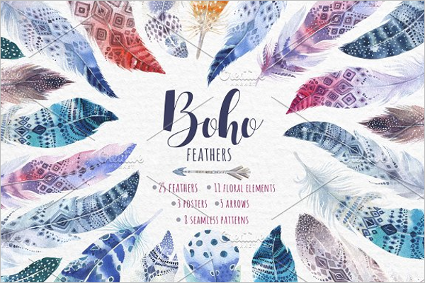 Colorful Feather Pattern Bundle