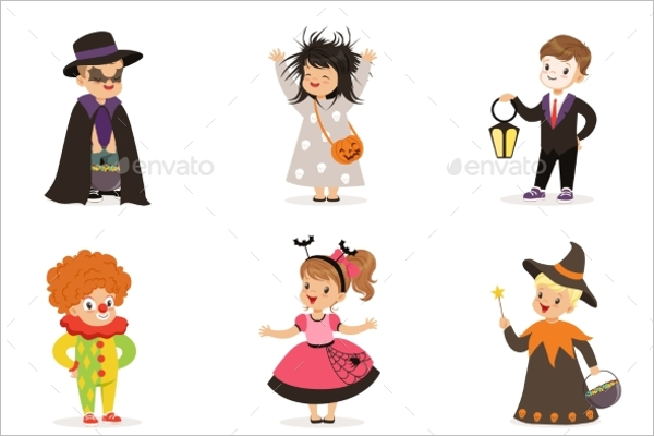 Colorful Kids Halloween Background