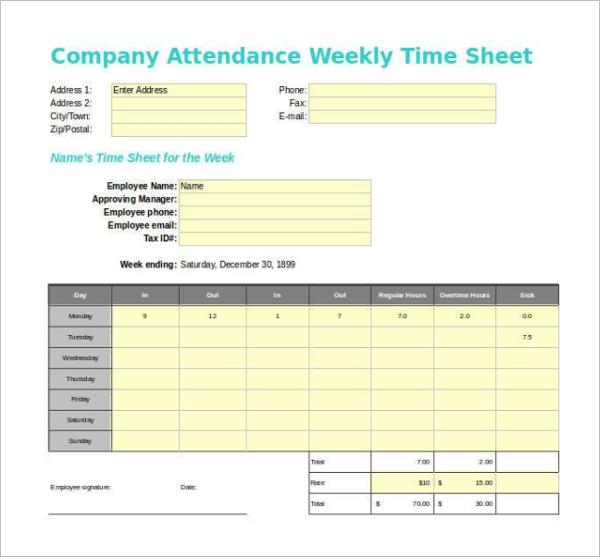 Company Attendance Timesheet Template