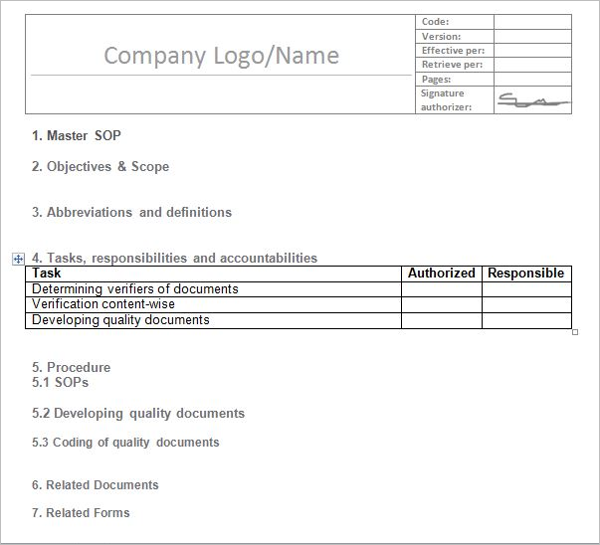 Company Standard Operating Procedure Template