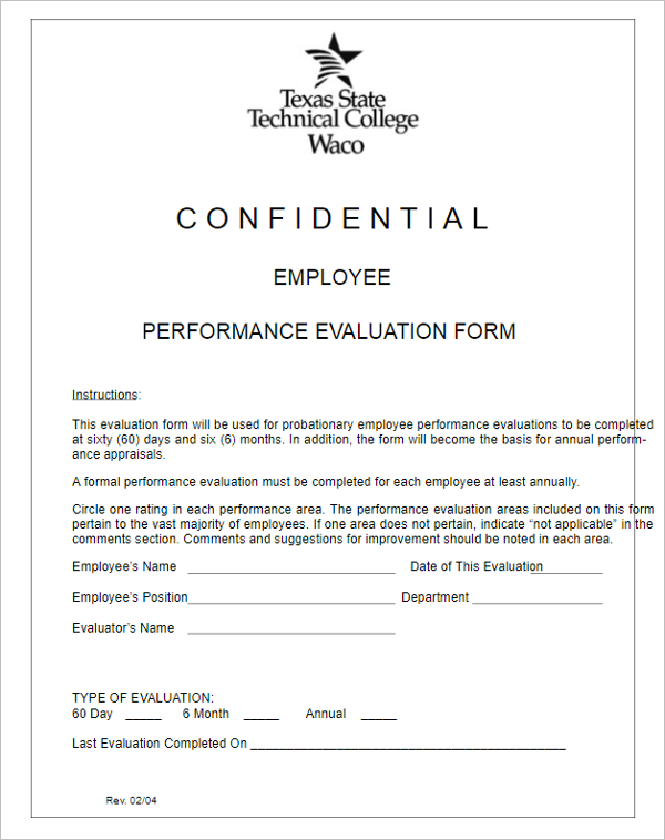 Confidential Employee Performance Evaluation Form