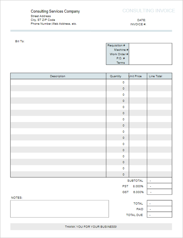 Consulting Invoice Form Template