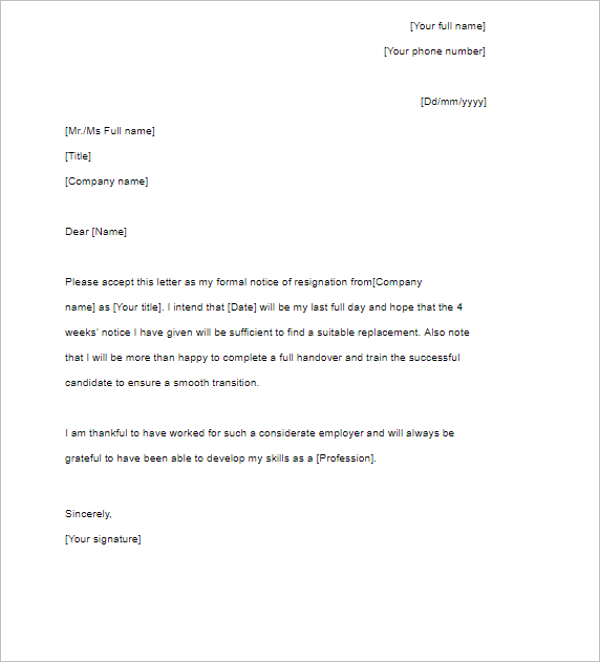 corporate letter resignation template - Template Letters Of Resignation