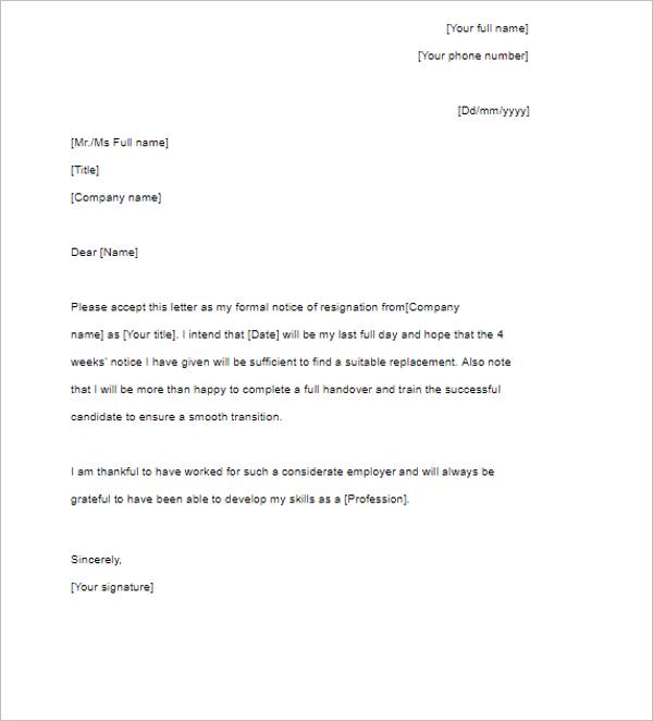 Corporate Letter Resignation Template
