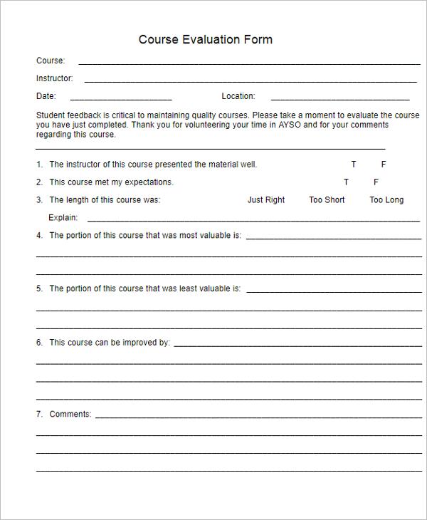 Course Performance Evaluation Form