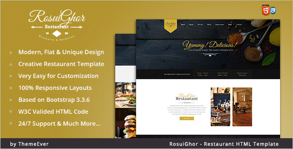 Creative Restaurant HTML Template