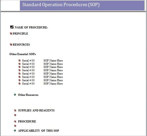 Creative Standard Operating Procedure Template