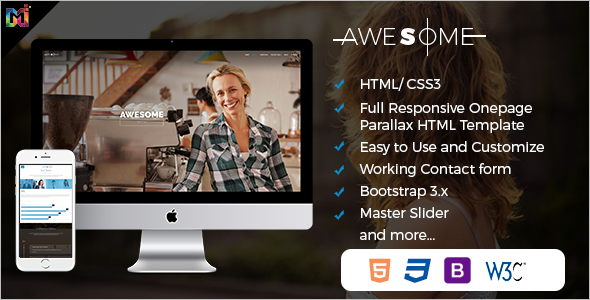 Custamizable One Page Parallax HTML Template