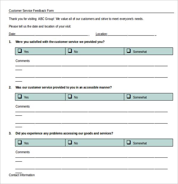 Customer Service Survey Feedback Template