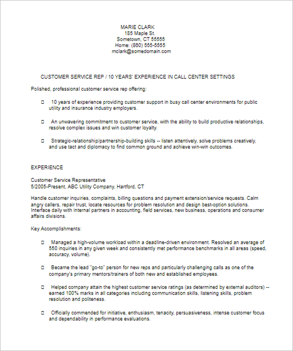Customer Services Resume Template