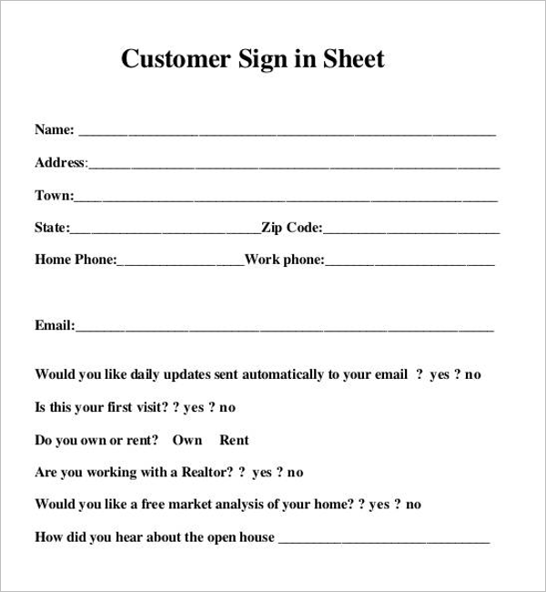 Customers Sign In Sheet Template
