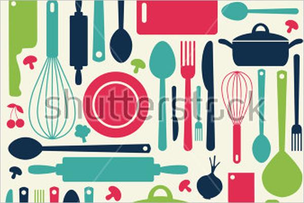 Cute Kitchen Pattern Vector