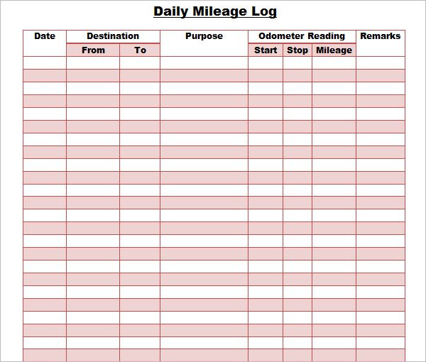 Mileage Log with Reimbursement Form MS Excel  Excel Templates