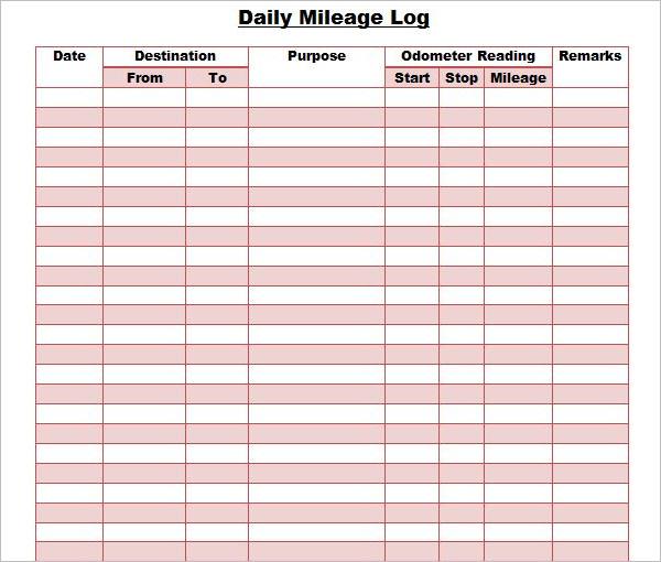 DailyMileage Log Template