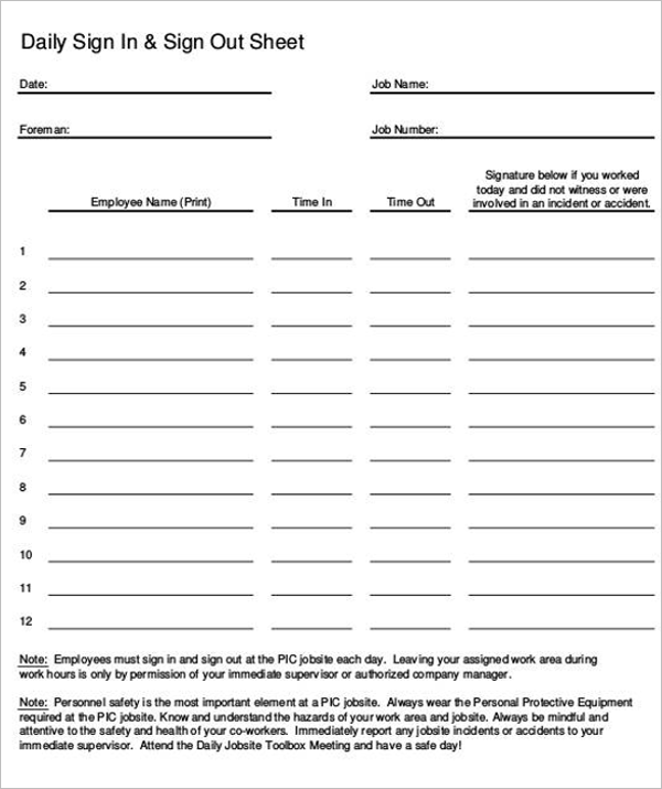 Daily Sign In & Sign Out Sheet Download