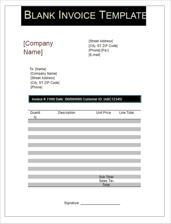 Blank Invoice Templates Free Word Excel PSD Format - Printable blank invoice template