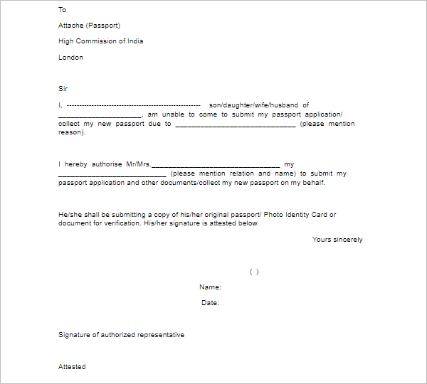 Download Sample of Authority Letter