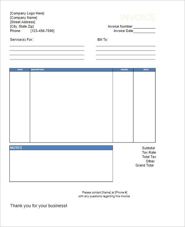 Download Service Invoice Template