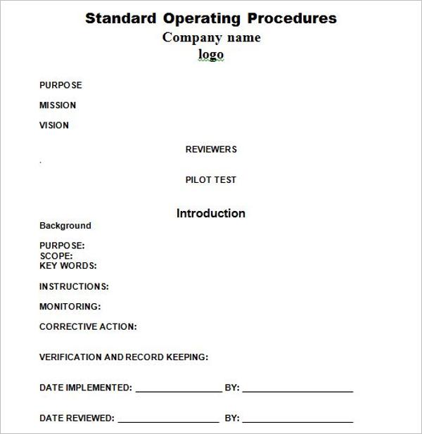 standard operating procedure template pdf
