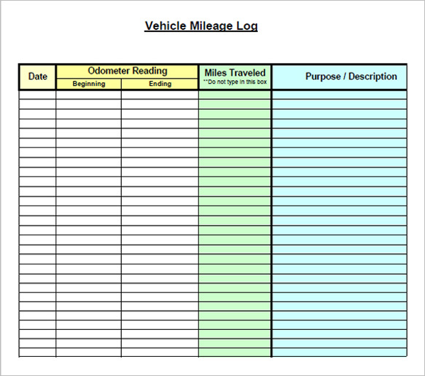 Download Vehicle Mileage Log Template