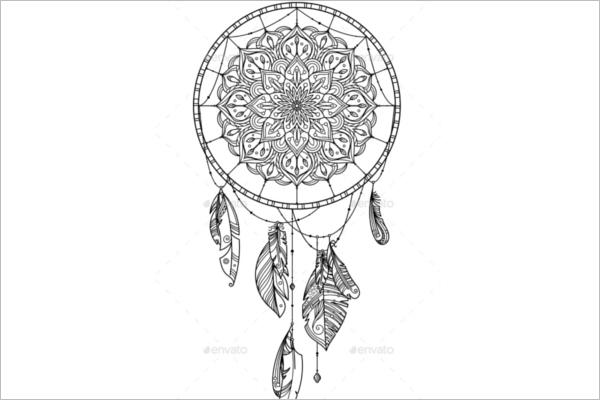 Dream Catcher Feather Pattern Design
