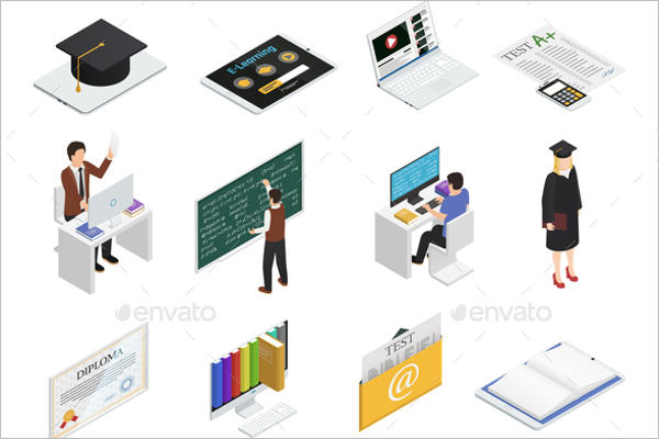 E-learning Isometric Concept