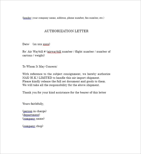 Editable Authority Letter Template
